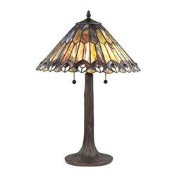 Peacock Motif Bronze Tiffany Pull-Chain Table Lamp -