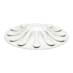 Red Vanilla - Red Vanilla Fare Porcelain 13-piece Appetizer Set - This large Vanilla Fare porcelain dish is the party appetizer platter for you.  Serve a variety of appetizers and specialties on this unique serving tray with 12 spoons.