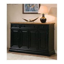 Winners Only - Quails Run Sideboard Cabinet - Three drawers. Four doors. Almond and ebony finish. 58 in. W x 18 in. D x 40 in. H