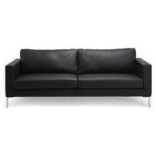 Modern Sofas Portobello Black Leather 3-Seat Sofa