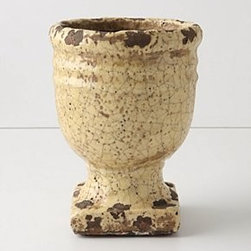 """Anthropologie - Aged Herb Pot, Pedestal - TerracottaWipe with a damp cloth7.25""""H, 5"""" diameterImported"""