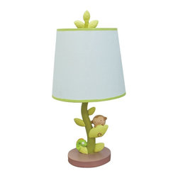 Nurture - Nurture Swing Lamp Multicolor - 102220 - Shop for Lamps from Hayneedle.com! Brighten up the style of any nursery with the Nurture Swing Lamp. This whimsical polystone lamp features a twisting vine for a lamp post and a monkey and iguana playing among the leaves. The blue shade is trimmed in green and the lamp is approximately 15 inches high. One energy efficient bulb included.About Nurture Imagination: Based in California Nurture Imagination creates collaborative relationships with artists designer and product innovators to bring a diverse mix of imaginative products to parents and children. This thoughtfully chosen array of products and features can be seen in their many nursery collections or just in the way they approach the needs of children and the parents who never get tired of caring for them.