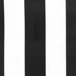 Orien Textile - Deck Stripe - Outdoor Fabric, Black & White - This great outdoor fabric is stain and water resistant, perfect for outdoor settings and indoors in sunny rooms. It is fade resistant up to 500 hours of direct sun exposure. Create decorative toss pillows, chair pads, tabletop and tote bags. To maintain the life of the fabric bring indoors when not in use. This fabric can easily be cleaned by wiping down or hand washing with warm water and a mild soap solution, simply rinse with clear water to prevent dirt from embedding itself into the fabric.