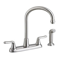 """American Standard - American Standard 4275.551.075 Colony 2-Handle Kitchen Faucet, Stainless Steel - This American Standard 4275.551.075 Colony Soft two handle Kitchen Faucet is part of the Colony collection, and comes in a beautiful Stainless Steel finish. This 2-handle goooseneck kitchen faucet features a brass swivel spout, a 12"""" spout height, metal lever handles, and a separate side-spray."""