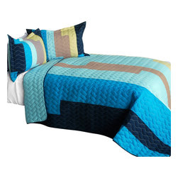 Blancho Bedding - [Classic Playbook - A] Cotton Vermicelli-Quilted Patchwork Striped Quilt Set - Q - The [Classic Playbook - A] Cotton Vermicelli-Quilted Patchwork Striped Quilt Set - Q includes a quilt and two quilted shams. This pretty quilt set is handmade and some quilting may be slightly curved. The pretty handmade quilt set make a stunning and warm gift for you and a loved one! For convenience, all bedding components are machine washable on cold in the gentle cycle and can be dried on low heat and will last for years. Intricate vermicelli quilting provides a rich surface texture. This vermicelli-quilted quilt set will refresh your bedroom decor instantly, create a cozy and inviting atmosphere and is sure to transform the look of your bedroom or guest room. (Dimensions: Full/Queen quilt: 90.5 inches x 90.5 inches; Standard sham: 24 inches x 33.8 inches)