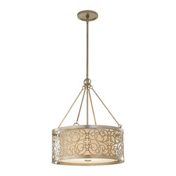 Murray Feiss - Murray Feiss Arabesque Drum Shade Pendant Light in Silver Leaf Patina - Shown in picture: Arabesque Up Light Chandelier in Silver Leaf Patina finish with Ivory Linen�Fabric