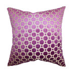 """The Pillow Collection - Kostya Geometric Pillow Purple 18"""" x 18"""" - Enhance the look of your living space with this plush and elegant throw pillow. It comes with a lovely magenta hue with a geometric pattern in white. This square pillow is a classic addition to any of your room. Made with a soft velvet material, this 18"""" pillow ensures long lasting quality. Hidden zipper closure for easy cover removal.  Knife edge finish on all four sides.  Reversible pillow with the same fabric on the back side.  Spot cleaning suggested."""