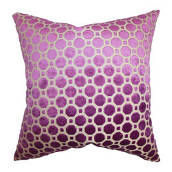 "The Pillow Collection - Kostya Geometric Pillow Purple 18"" x 18"" - Enhance the look of your living space with this plush and elegant throw pillow. It comes with a lovely magenta hue with a geometric pattern in white. This square pillow is a classic addition to any of your room. Made with a soft velvet material, this 18"" pillow ensures long lasting quality. Hidden zipper closure for easy cover removal.  Knife edge finish on all four sides.  Reversible pillow with the same fabric on the back side.  Spot cleaning suggested."