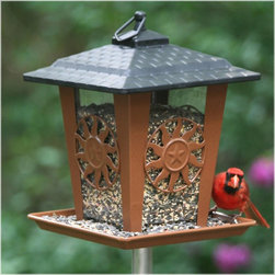 Perky Pet - Perky Pet Sun and Star Bird Feeder Multicolor - 370 - Shop for Feeders from Hayneedle.com! The Perky Pet Sun and Star Bird Feeder is a adds whimsy to your garden while attracting wild birds. This bird feeder has a wide opening that is easy to fill and a deep perch so several birds can feast at once. The design is perfect for attracting a variety of birds and it may be hung or pole mounted whichever you choose. This smart bird feeder features drain holes to save seeds and has a charming sun and star design. It holds up to 3.5 pounds of seed. We recommend using black oil sunflower mixed safflower and hulled sunflower seeds. About WoodstreamWoodstream has been creating innovative garden pet and wild bird solutions for years. Since 1958 they've been crafting a unique line of wild bird feeders to make life more colorful for birders and easier for their feathered friends. Theyve done the research to design feeders that will entice more birds to your yard while adding style to your surroundings. Woodstream wild bird feeders come in a variety of sizes shapes finishes and perch options. Youre sure to find the perfect gift for you or the birder in your life.