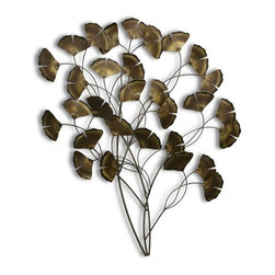 Home Decorators Collection - Ginkgo Tree Wall Sculpture - The Ginkgo Tree Wall Sculpture brings a hint of the Orient to your home. This contemporary metal sculpture is crafted of flame-colored brass and stainless steel wire. This colorful metal fusion is a vibrant contrast of warm golds and cool grays that blend well wtih any decor style. The perfect decor accent for a variety of design styles. Can be displayed indoors or out. Crafted of brass and stainless steel wire.