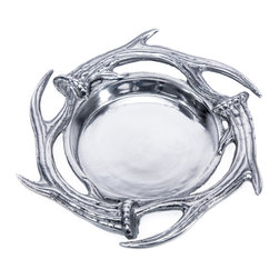 Arthur Court Designs - Antler Wine Coaster - Wash by hand with mild dish soap and dry immediately. Product not intended as cookware. Can withstand 350 F. Refrigerator and freezer safe.