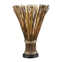 Kenroy - Kenroy KR-21066-NR Sheaf Tropical Table Lamp - Truly unique, Sheaf initially appears to be a gathered bundle of reeds, but its fanned top conceals a hidden light that gently illuminates the warm finish.  The effect can be country or nautical, but always stands out.