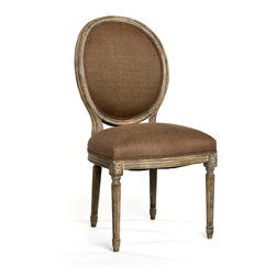 Medallion Side Chair - Limed Grey Oak with Aubergine Linen - Create beautifully symmetrical displays or intimate little corners with ease when you add the Medallion Side Chair to your seating.  A sturdy current production which draws on the neo-Classical details of graceful old-world furniture, the upholstered accent chair has a tailored seat and a handsome cameo back with supports that form a sleek continuous line into fluted rear legs.
