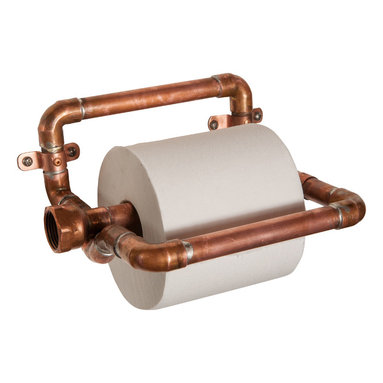 Nine & Twenty - Industrial Copper Toilet Paper Holder - Holds one standard roll of toilet paper, and does it in style. Two un-soldered joints allow the center bar to pivot up for roll replacement.