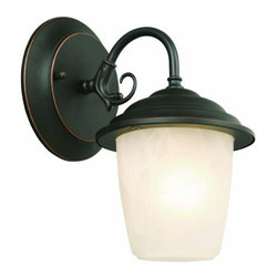 DHI-Corp - Millbridge Outdoor Downlight, 5.5-Inch by 7.5-Inch, Oil Rubbed Bronze - The Design House 519488 Millbridge Outdoor Downlight greets your guests at the door with a soft, inviting glow. The oil rubbed bronze finish and alabaster glass add a traditional elegance to any decor. This sconce measures 5.5-inches by 7.5-inches and matches brick, stone, wood paneling or aluminum siding. This light uses a 60-watt medium base incandescent lamp and is rated for 120-volts. Subtle details and curved lines give your home great curb appeal. Illuminate a front porch or back deck with this modern-day lantern's bright finish and classic design. This uplight will stay bright in harsh weather conditions and is UL listed, cUL listed and approved for wet areas. The Design House 519488 Millbridge Outdoor Downlight comes with a 10-year limited warranty that protects against defects in materials and workmanship. Design House offers products in multiple home decor categories including lighting, ceiling fans, hardware and plumbing products. With years of hands-on experience, Design House understands every aspect of the home decor industry, and devotes itself to providing quality products across the home decor spectrum. Providing value to their customers, Design House uses industry leading merchandising solutions and innovative programs. Design House is committed to providing high quality products for your home improvement projects.