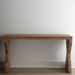 "Ambella - Ambella ""Timeless"" Console - Clean lines and timeless design emanate from this console handcrafted of the finest wood by skilled artisans. Perfect for any space from the entryway to the media room. Made of solid mindi wood. Dark driftwood finish. 60""W x 20""D x 33""T. Imported. ...."