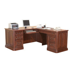 Golden Oak - Agusta Return Desk in Brown Cherry Finish - Cable management channels to organize and hide cables. Versatile left-hand center drawer with drop-down face functions as keyboard holder or pencil drawer. Large right-hand keyboard tray offers ample room for keyboard, mouse and mouse pad. CPU compartment muffles noise while protecting PC. Space-saving hutch with handy cabinets, shelves, letter holders and pocket drawers. Stand-alone file cabinet holds legal and letter files. Hidden rear door on desk provides easy access to back of CPU, cables or other peripherals. Perfect blend of style, elegance and efficiency. Fully finished L-shaped desk offers the option to work left or right. Dovetail joinery construction and full extension. Ball-bearing slides for smooth operation and long life. Constructed from rich hardwoods and wood veneers. Desk: 72 in. L x 66 in. W x 31 in. H (120 lbs.). Optional hutch: 68.5 in. W x 14.75 in. D x 48 in. H