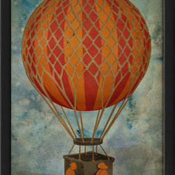 The Artwork Factory - 'Hot Air Balloon 1' Print - Up, up and away in my beautiful balloon … staring at this print, you can only see the promise and possibilities in life. Decorate your nursery, kids room or family room with this pleasing print of an orange hot air balloon.