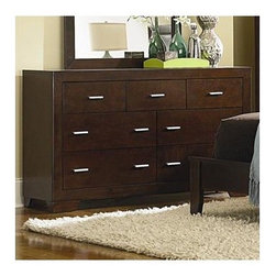 "Wildon Home - Tiffany 7 Drawer Dresser - Features: -Set includes dresser and mirror. -Contemporary style. -Selected hardwoods and veneers bathed in a deep brown finish. -Wood veneers and solids. -Constructed from wood veneers and solids. -Clean defined edges and tapered feet. Specifications: -Dresser: 35"" H x 59"" W x 16.5"" D. -Mirror: 39"" H x 32.5"" W x 0.875"" D."
