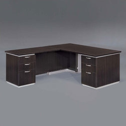 """DMi - Pimlico 66"""" W Left L-Shape Executive Desk (Flat Pack) - Features: -Right L-shape desk.-Chassis is made of wood.-Nickel drawer pulls.-Satin aluminum bases and framed frosted glass modesty panels and doors.-Edges with a slight recessed angle and tops separated from chassis.-Box / box / file drawer per pedestal.-Pencil tray in top box drawers.-Kneehole locking pedestals.-Grommets in desk top corners and return modesty panel.-Comes unassembled.-Pimilico collection.-Distressed: No.-Collection: Pimilico.Dimensions: -Desk: 30'' H x 66'' W x 30'' D.-Return: 30'' H x 48'' W x 24'' D.-Overall dimensions: 30'' H x 66'' W x 78'' D.-Overall Product Weight: 445 lbs."""