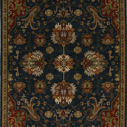 "Karastan - Karastan Crossroads 38260-15109 (Duval Indigo) 2'5"" x 4' Rug - Shades of classic red, warm honey, indigo and black are featured in this Studio by Karastan(r) collection. Accents of dove gray, terra cotta, sage and ivory highlight the tribal Suzani's, classic Persian panels, timeless Sarouk's, transitional florals and modern ikats that make up this collection. Made of New Zealand woven wool, the Crossroads collection offers a wide variety of decorating possibilities in plush, durable constructions that will meet the demands of today's active lifestyles."