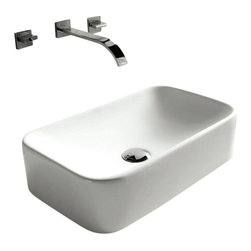 Caracalla - Rectangular White Ceramic Vessel Bathroom Sink, No Hole - Contemporary style, rectangular white ceramic vessel bathroom sink with no hole. Sleek above counter washbasin comes without overflow. Made in Italy by Caracalla.