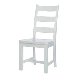 """Lea Industries - Lea Lola Ladder Back Chair in White - Lea Furniture Co., Inc. celebrates over 20 years of business in the U.S. as a leading manufacturer and distributor of fine quality furniture. Lea Furniture has succeeded in achieving this goal by securing a substantial place in the furniture industry nationwide. Even as their company has grown larger, the principles of a family run business trust, honesty and respect continue to be their foundation. When it comes to Lea Furniture products, it is their attention to detail and continued effort to satisfy you, the customer, which has secured their position as a leader in the furniture industry. From manufacturing facilities located overseas, Lea Furniture imports the highest quality, wood carved furniture into the United States. The products are then shipped to their corporate facilities where they are assembled and warehoused. With approx. 300,000 square feet of warehouse, assembly, and office space, they pledge to provide their customers with short turnaround times and special order capabilities based on their ability to support large capacities of inventory. Lea Furniture CO., Inc. supplies and services customers Worldwide from single stores to nationwide chain stores. - 327-774.  Product features: Solid wood and wood veneers construction; White finish; Seat: H18""""; Ladder Back; Wood Seat. Product includes: Chair (1). Ladder Back Chair in White belongs to Lola Collection by Lea Industries."""