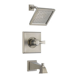 Delta Monitor(R) 14 Series Tub and Shower Trim - T14451-SS - The clean lines and dramatic geometric forms of the Dryden Bath Collection are based on style cues from the Art Deco period.