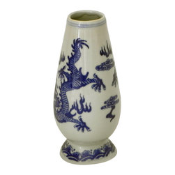 Asian Blue and White Dragon Bud Vase - Adorable Asian Blue and White Bud Vase with Dragon motif.  Collectible, one-of-a-kind item.