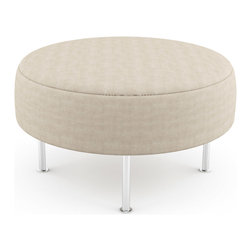 "Viesso - Mento 36"" Round Bench - Thin - This thin top creates an elegant solution for a modern bench. It's simple in design, but the many fabrics and finishes give you create freedom for your space."