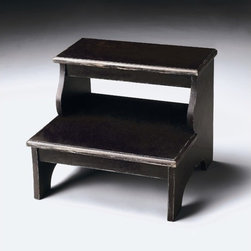 "Butler - Masterpiece Step Stool in Brushed Sable - Masterpiece represents Butler's hand - picked collection of lifestyle pieces for those with discriminating tastes... and a desire to be different. This collection is, above all, eclectic, offering a wide range of styles designed to provide bright accents for traditional to contemporary decors. Features: -Step stool. -Masterpiece collection. -Brushed sable finish. -Cherry veneer top, step and side panels. Specifications: -Wood construction. -Overall dimensions: 15"" H x 18"" W x 16"" D."