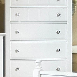 Vaughan Bassett - 5-Drawer Chest in Snow White Finish - 5 Drawers. Snow White finish. Assembly required. 38 in. W x 18 in. D x 54 in. H
