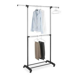"Whitmor - Adjustable Garment Rack 2 Rod - Whitmor Adjustable 2 Rod Garment Rack - Dimensions: 17.13"" x 36.25"" x 73"" - Ebony/Chrome.  Two hanging bars to double your hanging space.  Adjustable height and width.  Sturdy tubular bottom shelf.  Chromed Steel bar.  This item cannot be shipped to APO/FPO addresses. Please accept our apologies."