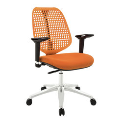 Modway Furniture - Modway Reverb Adjustable Armrests Office Chair in Orange - Adjustable Armrests Office Chair in Orange belongs to Reverb Collection by Modway Reverb is a flexible and responsive chair built for years of ergonomic comfort. Designed to offer support over both your lower and upper back regions, the flexible mesh back and waterfall seat design help keep you alert, while effectively distributing the weight of your body. The pneumatic lever and tension control knob fine-tune the chair's height and tilt to personalize Reverb, while the pivot and height adjustable armrests make sure your upper-body is well-positioned. Although mesh designs have increased in popularity in recent years, Reverb offers a choice that is both stylish and works admirably well to protect your body from daily stresses. The aluminum base comes equipped with five dual-wheeled hooded casters for easy gliding over carpeted surfaces, and the molded foam seat pan comes generously padded for extra comfort. Set Includes: One - Reverb Office Chair Office Chair (1)