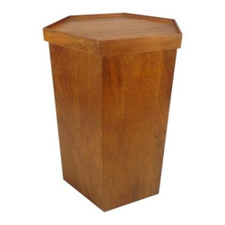 Threshold Wooden Hex Accent Table with Storage, Natural - This modern side table constructed of teak wood serves up great storage underneath the removable top. I've recently used this in a client's living room redesign, and it's always one of the first pieces guests comment on.