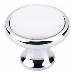Top Knobs - Top Knobs: Ceramic Knob 1 1/4 Inch - Polished Chrome & White Ceramic - Top Knobs: Ceramic Knob 1 1/4 Inch - Polished Chrome & White Ceramic