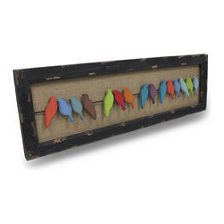 Zeckos - Colorful Distressed Finish Birds On A Wire Wood and Metal Wall Art - This striking birds on a wire wall hanging features distressed finish painted metal birds on a twisted wire, against a natural burlap background. It has a distressed wooden frame, and hangs on your wall with 2 brass loop hangers. It measures 38 inches long, 12 inches tall and an inch deep. It makes a great gift.