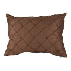 Brandy Renee Design - Chocolate Diamond Pin Tuck Oblong Pillow - Our casual chocolate faux suede pillow is hand sown in a diamond like shape with vibrant bronze beads across the face of the pillow. Its texture is amazingly soft to touch and this pillow would look great with almost anything.
