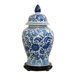 "Oriental Furniture - 18"" Floral Blue & White Porcelain Temple Jar - Large oriental porcelain temple jar with Ming Dynasty style vine and leaf design. Traditional blue and white colors are coated in an antiqued ice crackle glaze. Display in matched pairs on a hearth, breakfront, credenza, or alone on a pedestals or plant stand. The lids are removable, great for storing collections of small objects."