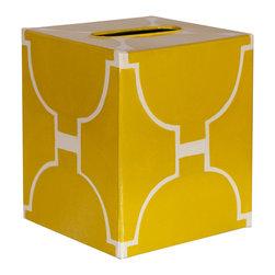 Worlds Away Kleenex Box Yellow and Cream Pattern - Worlds Away Kleenex Box Yellow and Cream Pattern