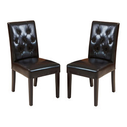 Great Deal Furniture - Waldon Leather Dining Chair, Set of 2, Black - Warm welcome: Some chairs just seem to invite company. This is one such design. Crafted in natural hardwoods and leather with plush seating, these gems are tufted back to encourage delightful times over a meal. And should dinner extend into an evening affair, these chairs can do double duty as side chairs in your living room.