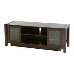 """Holly & Martin - Holly & Martin Kenton TV Stand/Media Console - Petite yet sturdy, this espresso finished stand is large enough to hold a 50"""" flat screen. The low, sleek profile keeps all eyes on the television but wandering eyes will find lovely glass doors housing your movie collection and space for your DVD player. * This espresso finish media cabinet is the perfect option for those upgrading their home entertainment centers. This piece designed for current technology features a wide surface at the appropriate height for a large flat-screen television. In the cabinet there are adjustable shelves for organizing electronic components and media. There are two sliding doors with glass. This unit will accommodate up to a 50 in. flat panel TV weighing up to 176 lbs.. Some assembly required. Assembly: Required. Material of construction: Rubber wood / MDF / PB / Veneer. 52 in. W x 20 in. H x 16 in. D."""