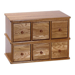 Leslie Dame - Apothecary Style Multimedia Cabinet in Oak - Handcrafted Apothecary Style Oak Library Style Multimedia Storage Cabinet has that rare combination of classic design. High quality construction. This beautiful furniture quality cabinet will compliment any decor while providing the consumer the versatility of six drawers capable of holding CD's, DVD's, VHS Videocassettes or Game Cartridges. Holds 150 CDs, 36 DVDs, or 24 VHS videotapes. Oak finish. 21 in. W x 12.25 in. D x 15.25 in. H