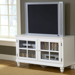 Hillsdale Furniture - Hillsdale Grand Bay 48 Inch Entertainment Console In White - Transitionally designed to blend easily into both contemporary and traditional decor  the Grand Bay entertainment console is available in two finishes to fit your needs. The smooth satin finish is available in either black or white for added versatility across many decor styles. It is constructed of solid wood with veneer and the back features knockouts for easy cable management. The console offers two glass front cabinets with adjustable shelves for storing your electronics  game systems  DVDs and CDs.