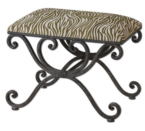 Uttermost - Uttermost 23089  Aleara Wrought Iron Small Bench - Weathered, wrought iron scrolled bench with soft cushioned top in cream and olive linen-cotton blend.