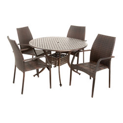 Great Deal Furniture - Bessemer Outdoor 5pcs Cast Aluminum Wicker Dining Set - The Bessemer circular outdoor cast and wicker set is a perfect addition to add some style to any outdoor living space. This unique set combines a cast aluminum table with versatile PE wicker chairs to create an interesting touch of expression to your backyard or patio.