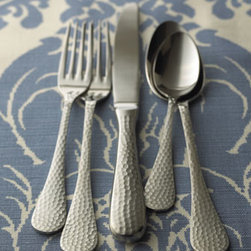 """Wallace Silversmiths - Wallace Silversmiths Five-Piece """"Euro Hammered"""" Flatware Place Setting - The visual texture alone is enough to choose this """"Euro Hammered"""" flatware. In textured 18/10 stainless steel with a brushed finish. Dishwasher safe. Imported. Flatware sizes: Salad fork, 7.25""""L x 0.875""""W. Dinner fork, 8.125""""L x 0.875""""W. Dinner..."""