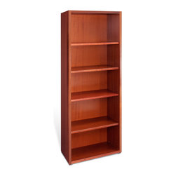 """Jesper Office Furniture - 2000 Series 21"""" Wide 5-Shelf Bookcase - With espresso, cherry, maple, teak finish option, the Jesper Office 2000 Series 21"""" Wide 5-Shelf Bookcase is crafted from real wood veneer for durability. It has pre-installed levelers and 4 adjustable shelves. This bookcase also features thick solid wood edges."""