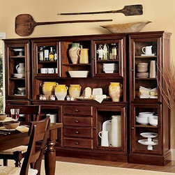 Tucker Wall Unit, 1 Buffet, 1 Hutch & 2 Towers, Mahogany stain - Create a wall of cabinetry with the look of a built-in with our Tucker Wall Unit. The generously scaled buffet offers ample space for organizing dining essentials. Add the hutch for a dramatic display. 111.5'' wide x 16.5'' deep x 75'' high Crafted of hardwood and veneers. Hand finished in black, mahogany or rustic pine. Catalog / Internet Only. View our {{link path='pages/popups/fb-dining.html' class='popup' width='480' height='300'}}Furniture Brochure{{/link}}.