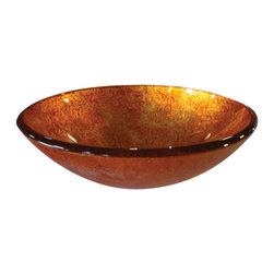 Yosemite Home Decor - Sunrise Round Glass Basin - Fiery orange and red coloring with a textured exterior